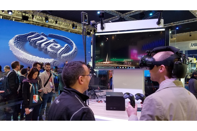 On Feb. 27, 2017, Intel Corporation showcases how the pieces of the 5G puzzle -- network, cloud and client -- will come together through amazing experiences at Mobile World Congress 2017. Intel is delivering new technologies and working with industry leaders on platforms now to realize the full promise of 5G. The event, which runs from Feb. 27 to March 2 in Barcelona, Spain, focuses on the mobile communications industry. (Credit: Intel Corporation)